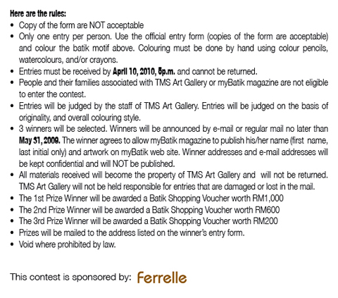 Rules and regulation for the contest