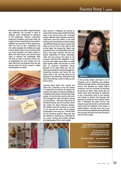 Malaysian Batik Success Story, Miss Aliya