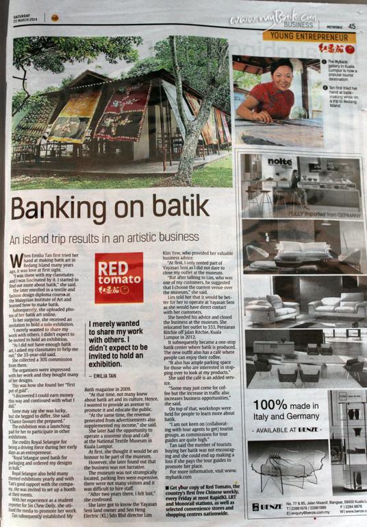 "22 March 2014 The Star newspaper ""Emilia Tan - Banking Batik"""