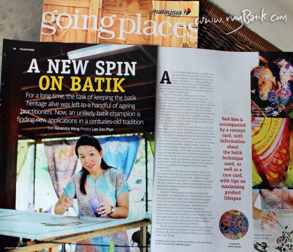 April 2013 Going Places Malaysia ( Malaysian Airline Magazine )  A New Spin on Batik by Emilia