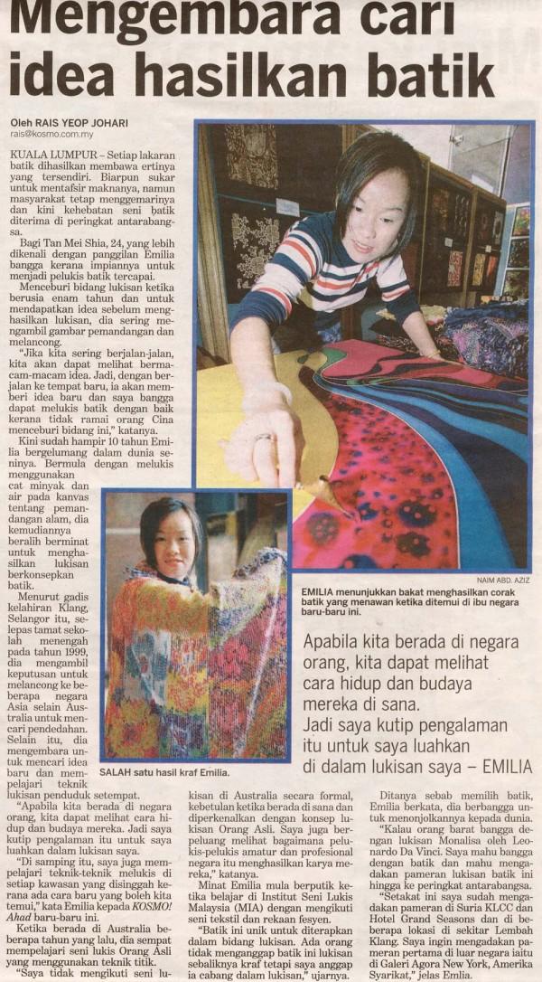 """2005 Feature story by KOSMO """" Mengembara Cari Idea Hasilkan Batik"""""""