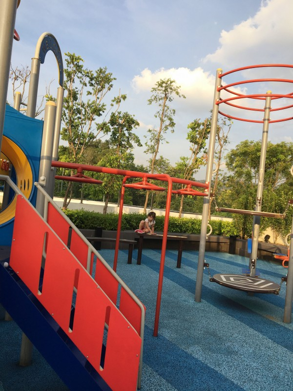 Children playground is available by the pool side, surrounding with all the green environment